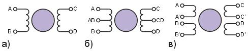Рис. 1. Биполярный двигатель (а), униполярный (б) и четырехобмоточный (в).